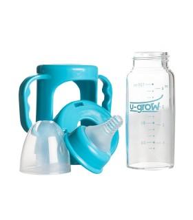 Biberon 0-3 luni din Sticla Gat Normal cu Protectie Plastic 120 ml